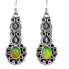 3.50cts natural multi color ethiopian opal 925 silver dangle earrings r21741
