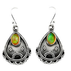 3.40cts natural multi color ethiopian opal 925 silver dangle earrings r21742
