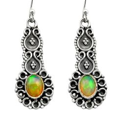 3.32cts natural multi color ethiopian opal 925 silver dangle earrings r21743