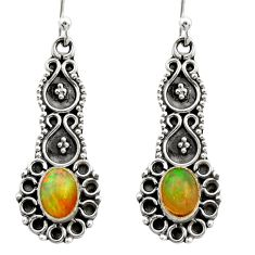 3.46cts natural multi color ethiopian opal 925 silver dangle earrings r21745