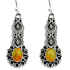 3.48cts natural multi color ethiopian opal 925 silver dangle earrings r21747