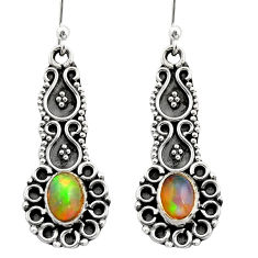 3.50cts natural multi color ethiopian opal 925 silver dangle earrings r21749