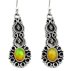 3.44cts natural multi color ethiopian opal 925 silver dangle earrings r21750