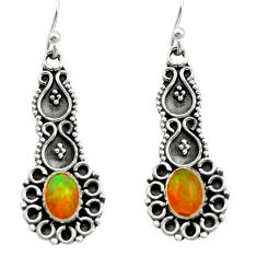 3.50cts natural multi color ethiopian opal 925 silver dangle earrings r21753