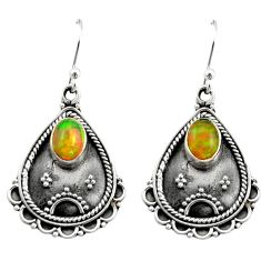 3.40cts natural multi color ethiopian opal 925 silver dangle earrings r21754
