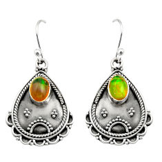 3.22cts natural multi color ethiopian opal 925 silver dangle earrings r21755