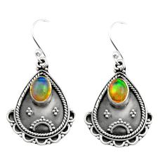 3.22cts natural multi color ethiopian opal 925 silver dangle earrings r21757