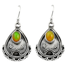 3.40cts natural multi color ethiopian opal 925 silver dangle earrings r21759