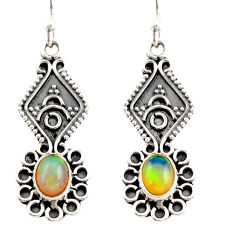 3.51cts natural multi color ethiopian opal 925 silver dangle earrings r21761