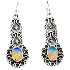 3.93cts natural multi color ethiopian opal 925 silver dangle earrings r21762