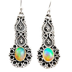 3.50cts natural multi color ethiopian opal 925 silver dangle earrings r21763