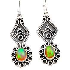 3.32cts natural multi color ethiopian opal 925 silver dangle earrings r21766