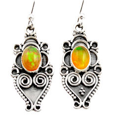3.25cts natural multi color ethiopian opal 925 silver dangle earrings r21769