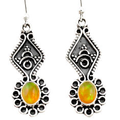 3.30cts natural multi color ethiopian opal 925 silver dangle earrings r21773