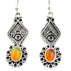 3.32cts natural multi color ethiopian opal 925 silver dangle earrings r21774