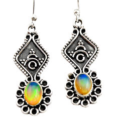 3.12cts natural multi color ethiopian opal 925 silver dangle earrings r21777