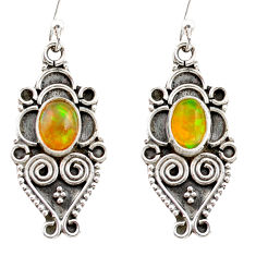 3.29cts natural multi color ethiopian opal 925 silver dangle earrings r21782