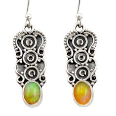 2.93cts natural multi color ethiopian opal 925 silver dangle earrings r21783