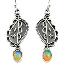 3.12cts natural multi color ethiopian opal 925 silver dangle earrings r21785