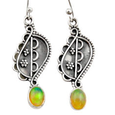 3.13cts natural multi color ethiopian opal 925 silver dangle earrings r21786