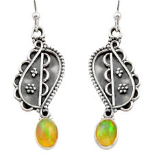3.26cts natural multi color ethiopian opal 925 silver dangle earrings r21787