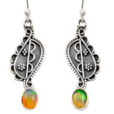 3.12cts natural multi color ethiopian opal 925 silver dangle earrings r21788