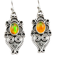 3.26cts natural multi color ethiopian opal 925 silver dangle earrings r21792
