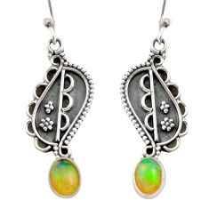 3.26cts natural multi color ethiopian opal 925 silver dangle earrings r21795