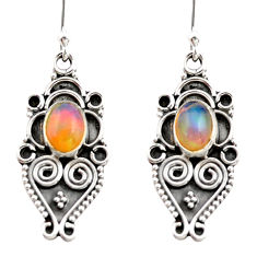 3.32cts natural multi color ethiopian opal 925 silver dangle earrings r21796