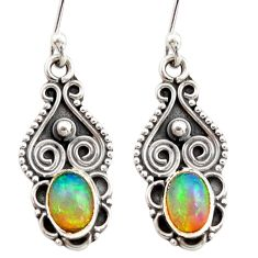 3.18cts natural multi color ethiopian opal 925 silver dangle earrings r21962