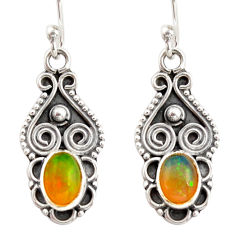 3.42cts natural multi color ethiopian opal 925 silver dangle earrings r21963