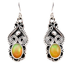 3.42cts natural multi color ethiopian opal 925 silver dangle earrings r21966