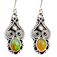 3.03cts natural multi color ethiopian opal 925 silver dangle earrings r21969