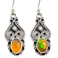 3.18cts natural multi color ethiopian opal 925 silver dangle earrings r21971
