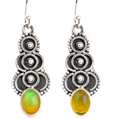 3.03cts natural multi color ethiopian opal 925 silver dangle earrings r21972