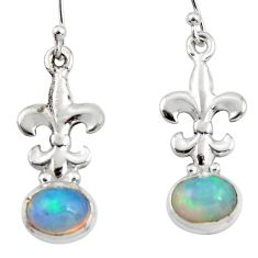3.89cts natural multi color ethiopian opal 925 silver dangle earrings r47441