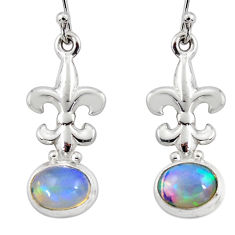 3.95cts natural multi color ethiopian opal 925 silver dangle earrings r47442