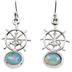 4.15cts natural multi color ethiopian opal 925 silver dangle earrings r47443