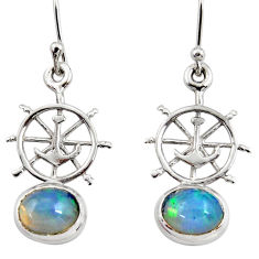 4.31cts natural multi color ethiopian opal 925 silver dangle earrings r47445