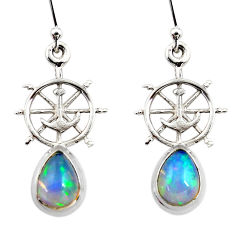 4.19cts natural multi color ethiopian opal 925 silver dangle earrings r47454