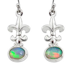 4.39cts natural multi color ethiopian opal 925 silver dangle earrings r47456