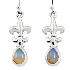 4.12cts natural multi color ethiopian opal 925 silver dangle earrings r47461