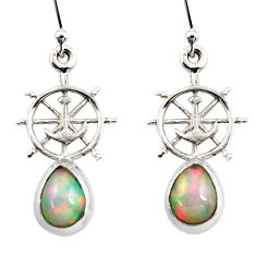 4.10cts natural multi color ethiopian opal 925 silver dangle earrings r47467