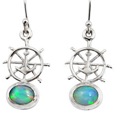 4.07cts natural multi color ethiopian opal 925 silver dangle earrings r47473