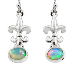 4.92cts natural multi color ethiopian opal 925 silver dangle earrings r51030