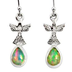3.83cts natural multi color ethiopian opal 925 silver dangle earrings r51035