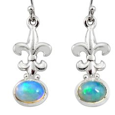 4.22cts natural multi color ethiopian opal 925 silver dangle earrings r51036