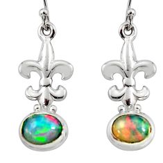 4.02cts natural multi color ethiopian opal 925 silver dangle earrings r51039