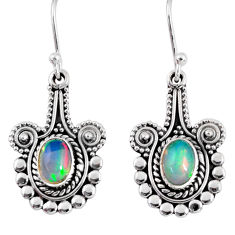 3.16cts natural multi color ethiopian opal 925 silver dangle earrings r55303