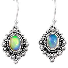 3.07cts natural multi color ethiopian opal 925 silver dangle earrings r55305